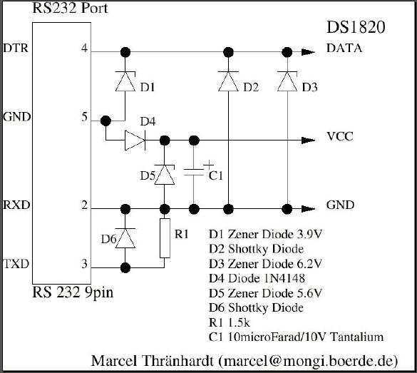 Схема температурного датчика для RS232