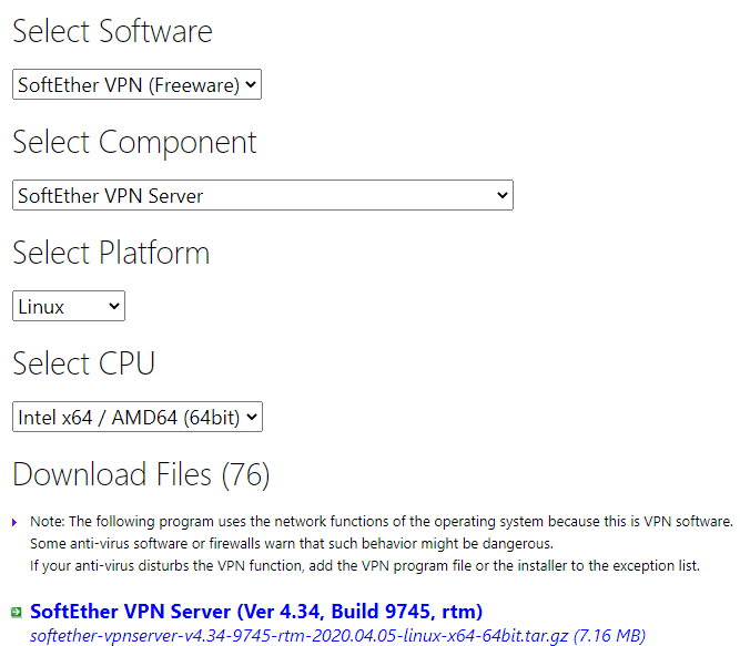 SoftEther VPN Download page
