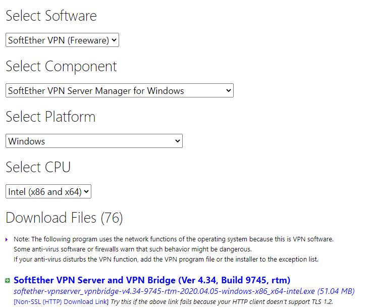 SoftEther VPN Server Manager download page