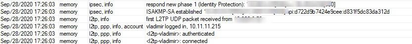 MikroTik Log VPN l2TP IPsec