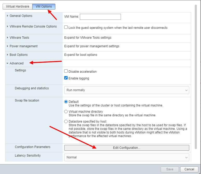 VmWare ESXi 6.7 edit configuration